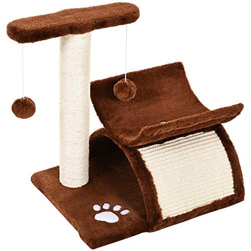 PawHutRascador para Gatos Árbol Rascador con Bolas de Juego 40x30x43cm