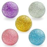 Entervending Bouncy Balls - Rubber Balls for Kids - Glitter Bounce Balls - 5 Pcs Large Bouncy Ball 45 mm - Hi Bounce...