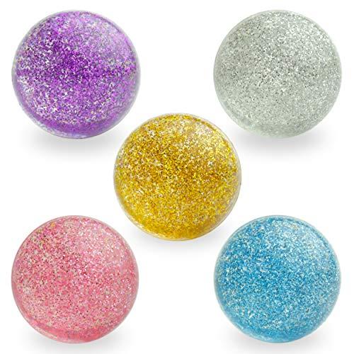 Entervending Bouncy Balls - Rubber Balls for Kids - Glitter Bounce Balls - 5 Pcs Large Bouncy Ball...