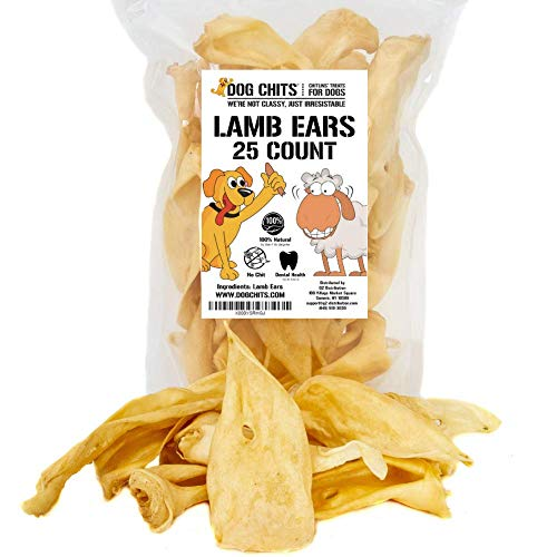 Dog Chits Lamb Ears for Dogs - Dog and Puppy Chews | NO Odor | USDA | All Natural, Treats | Long Lasting Chew for Large and Small Dogs (25 Count)
