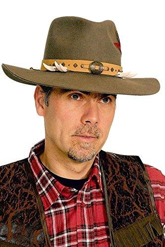 Chapeau Indiana J., marron, décoration os, Taille 60