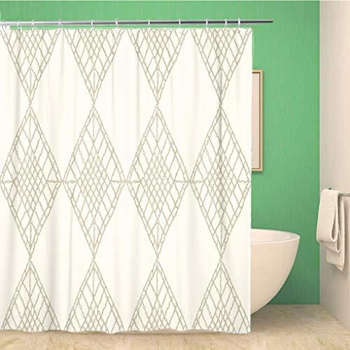 Awowee Decor - Cortina de Ducha (Tejido de Malla de Ganchillo, Tejido de macramé, 180 x 180 cm, Tela de poliéster, Impermeable, con Ganchos para el baño)