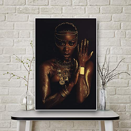 UIOLK Abstract Art Black Gold African Woman Canvas Necklace Scandinavian Posters and Prints Wall Art Pictures