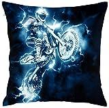 shizh Funda de Almohada Decorativa de Deporte de Motocross Funda de cojín con Cremallera para el sofá del hogar Dormitorio Silla de Coche Casa Fiesta 45 X 45 cm