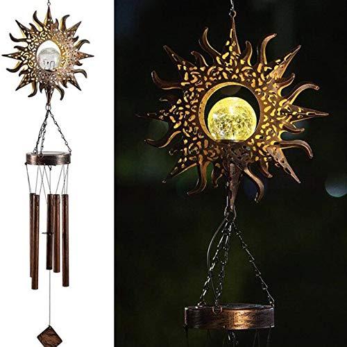 KULOKME Solar Windspiele für draußen hängende Außendekoration Mond Knistern Glaskugel LED-Licht Schmiedeeisen Windspiel Gedenkgeschenk mit Metallrohren Wasserdicht für Gartenhof Patio Rasen (Sonne)
