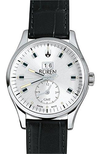 BÜREN 301026–Armbanduhr Herren, Lederband schwarz