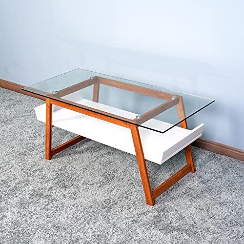 NICEDINING Vardagsrum soffbord och sidobord i snygg blandad glasskiva med naturlig bamburam och vitmålad förvaringsområde