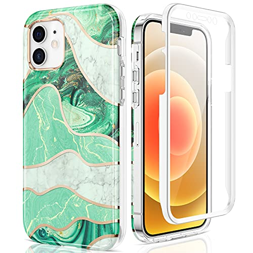 Maxdara iPhone 12 Pro Marble Case, iPhone 12 Full Body Case with Built-in Screen Protector Shockproof Protective for Girls Women Stylish Marble Phone Case for iPhone 12/12 Pro 6.1 inch (Green)