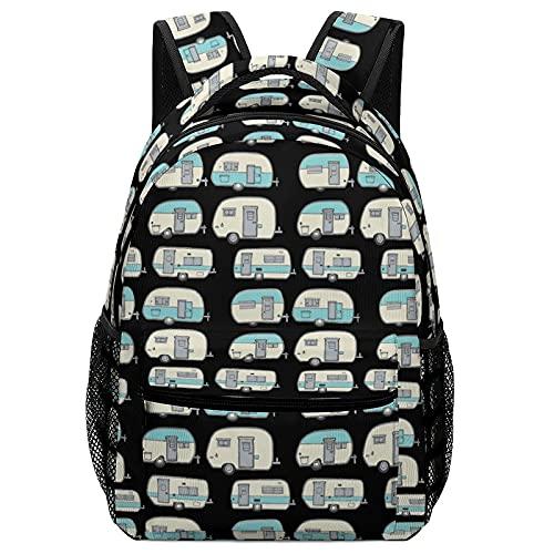 Mochila escolar Happy Camper Doodles RV Van Cute Double Backpack Sackpack Teens Childrens Notebook With Side Pocket Lightweight Adjustable Bookbag 16.5inch