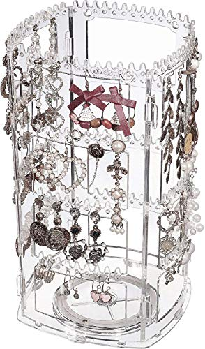 Cq acrylic 360 Rotating Earrings Holder and Jewelry Display Rack,4 Tiers Jewelry Rack Display Classic Stand,156 Holes For Dangle Earrings Organizer and 160 Grooves for Necklaces Display,Clear Pack of 1
