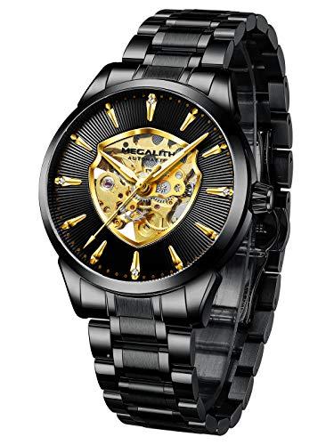 MEGALITH Relojes Hombre Relojes de Pulsera Militar Esqueleto Automatico Mecanicos Acero Inoxidable Reloj de Analogicos Impermeable Diseño