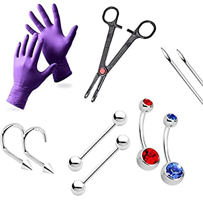 10-Piece Piercing Kit Grade 23 Solid Titanium Tool, Needles, Gloves Nose. Belly, Nipple, Tongue