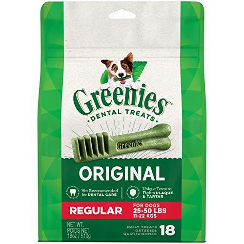 GREENIES Original Regular Natural Dog Dental Care Chews Oral Health Dog Treats, 18 oz. Pack (18 Treats)