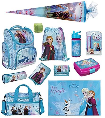 Disney Die Eiskönigin Mädchen Schulranzen-Set 16 TLG. Modell CLOU Ranzen 1. Klasse   Schultasche mit Brotzeit-Dose, Trink-Flasche, Sporttasche, Schultüte 85cm und Regenschutz   Frozen II Türkis