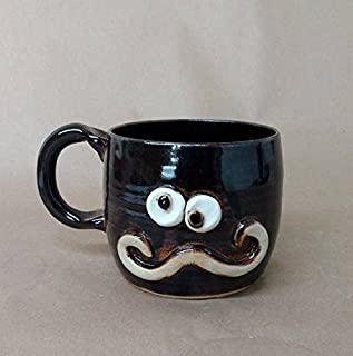 Handlebar Mustache Mug. Chocolate Black Stoneware Pottery Coffee Cup. Hot or Cold Beverage. Medium 14-18 Ounces.