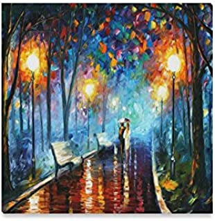 Walk a rainy night Oil Painting Framed Canvas Prints Wall Art For Wall And Home Decor,16x16 Inches