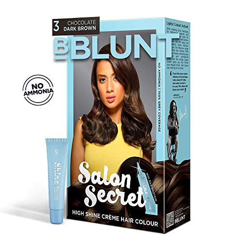 BBLUNT Salon Secret High Shine Creme Hair Colour, Chocolate Dark Brown 3, 100g With Shine Tonic, 8ml Rs. 83  ( 55%  Discount).