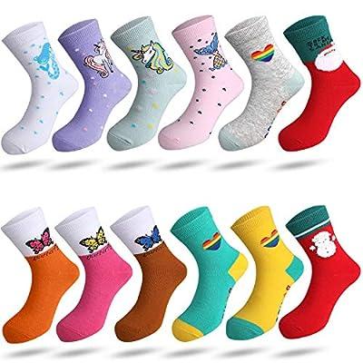 Rovtop 12 Pares Calcetines de Niñas - Calcetines de Algodón para Niños de 8 a 10 Años, Calcetines Navideños de Animados Bonitos, Unicornios, Calcetines con Patrón de Sirena (Talla 31-34)