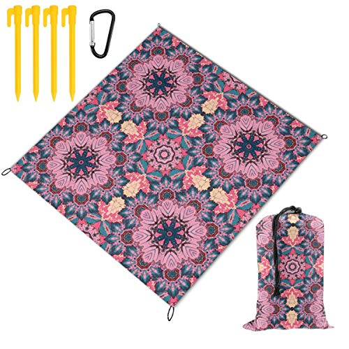 Review Hucuery Picnic Blanket 59 X 57 in Seamless Oriental Ornamental Foldable Waterproof Extra Large Picnic Mat, Can Be Used for Picnic Beach Outdoor Picnic Mat
