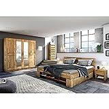 moebelstore24 Futonbett Schlafzimmerbett 180 x 200 inkl. 4 Schubladen Wildeiche-massiv geölt Sara - 4