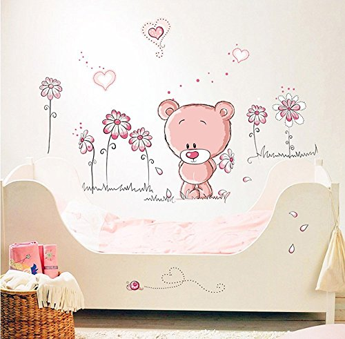 WandSticker4U- Wandtattoo BABY BÄR in rosa