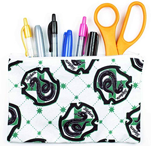 """Harry Potter White Slytherin Fabric Pencil Case or Cosmetic Bag - 8"""" x 5"""" Zipper Pouch Made With Licensed Fabric - HAND MADE IN THE USA"""