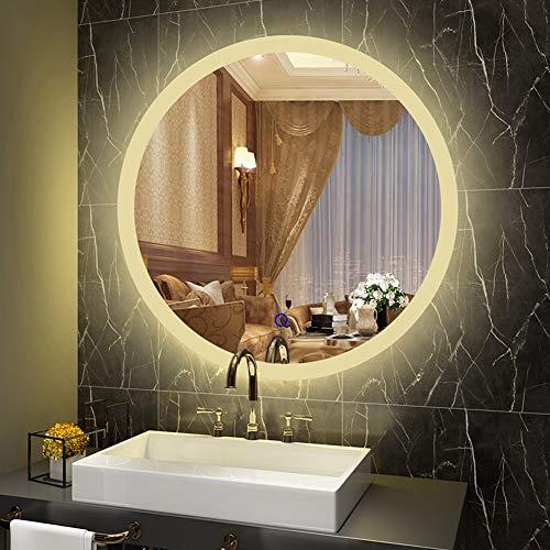 SXFYMWY Espejo de Maquillaje Redondo para baño con luz LED Moderno, Elegante, Solo Toque, antiniebla, montado en la Pared, sin Marco, Espejo Impermeable HD, luz Blanca cálida