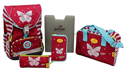 DerDieDas Schulrucksack ErgoFlex FUNNY BUTTERFLY 5-tlg.Set 8405011 (1-3. Klasse), DerDieDas Farbe:funny butterfly