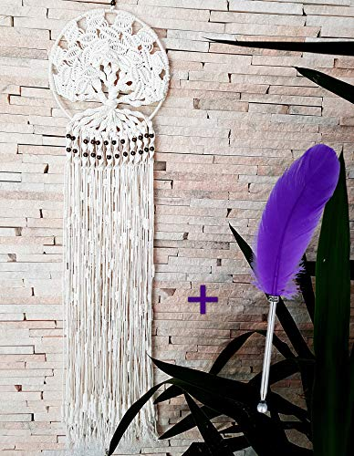 Dream Catchers Macrame White Cotton Knitted with TREE of LIFE theme, LARGE SIZE (37.4 length x 9.84 diameter) Wall Hanging Home Decoration, Boho Wedding Ornament Decor + 1 Natural Feather Pen GiFT