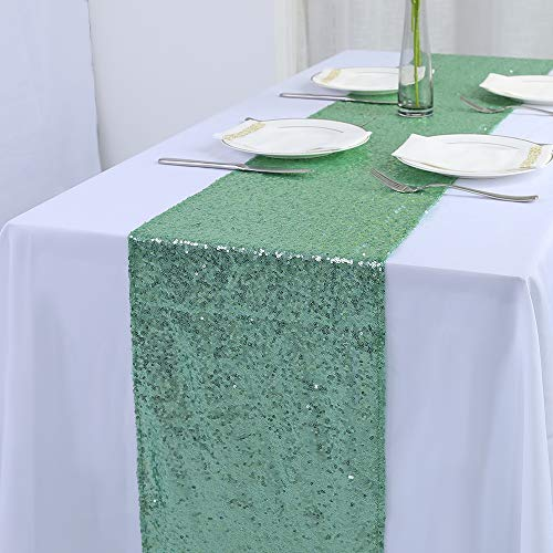 "Zdada 2 Package Wedding Sweetheart Table Linens Sequin Table Runners-Mint 12""X108"""