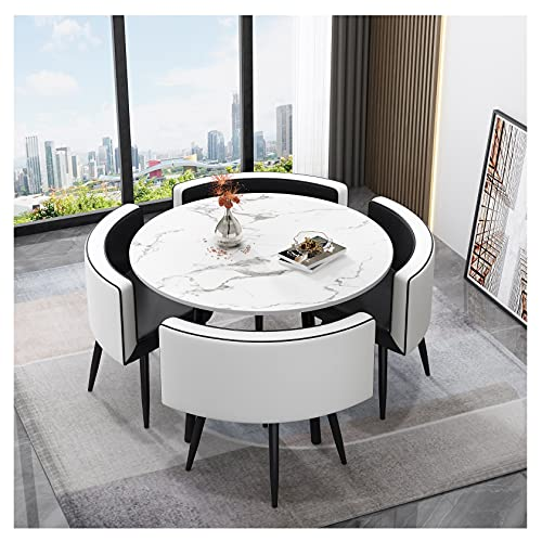 """Dining Table Set 35.4"""" Round Wooden Small Dining Table Set 4 Upholstered Chairs for Small Spaces Kitchen Table and Chairs Dining Room Table Modern Home for Restaurant (White Table Inner Black Chair)"""