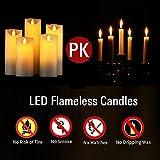 LED Kerzen,Flammenlose Kerzen 250 Stunden Dekorations-Kerzen-Säulen im 5er Set.Realistisch flackernde LED-Flammen 10-Tasten Fernbedienung mit 24 Stunden Timer-Funktion (5 * 1, Ivory) - 7