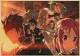 liuguangyicai Juego Sword Art Online Kirito Asuna Japón Anime Carteles Impresiones Pared Arte Imágenes Pared Arte Lienzo Pintura Sin Marco 40X60Cm B1550