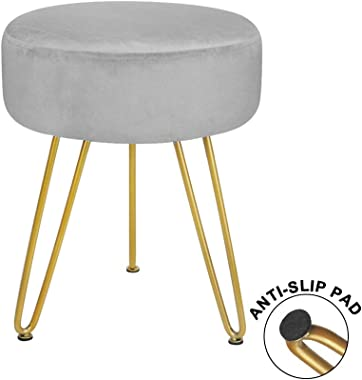 Velvet Footrest Stool Ottoman Round Modern Foot Stool with Removable Golden Metal Leg Footstool, for Dressing Table Stool, Sh