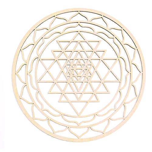 12' Sri Yantra, Thick, Chakra Wooden Wall Art, Wooden Wall Art Decor,...