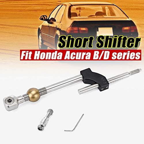 PQY Stainless Steel Short Shifter Adjustable Height Dual Bend Compatible with Honda Civic B&D