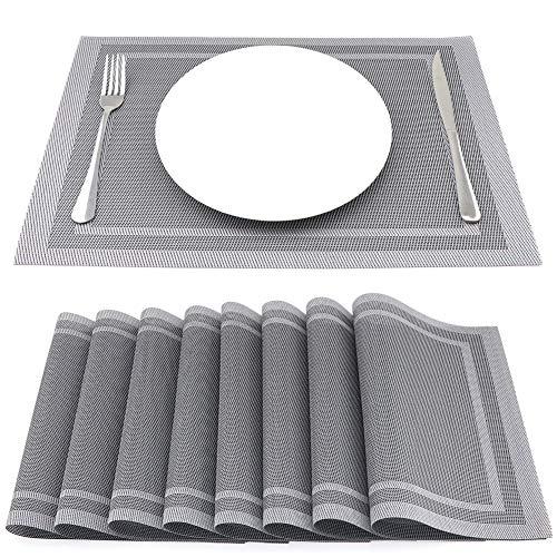 SueH Design Gewebte Platzsets/Tischsets 8er Set Vinyl 45 * 30 cm Silber