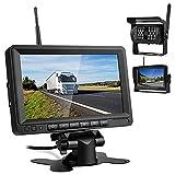 Cámara de Marcha Atrás Inalámbrica de Kit, Monitor LCD IPS de 7' y Cámara de Visión Trasera Gran Angular, para Coche / Camión / Autobús, Etc (Negro)