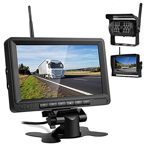 Cámara de Marcha Atrás Inalámbrica de Kit, Monitor LCD IPS de 7  y Cámara de Visión Trasera Gran Angular, para Coche   Camión   Autobús, Etc (Negro)