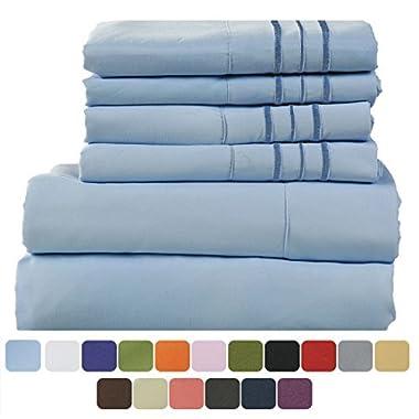 TasteLife 105 GSM Deep Pocket Bed Sheet Set Brushed Hypoallergenic Microfiber 1800 Bedding Sheets Wrinkle, Fade, Stain Resistant - 6 Pcs(Lake Blue, Queen)