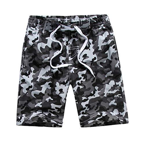 LAUSONS Kinder Badeshorts Jungen Camouflage Badehose mit Innenslip Schnelltrockend Strandshorts Grau 164-170 / Größe XXL