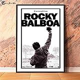 Sin Marco Rocky Balboa Classic Movie Lienzo Pintura Carteles e Impresiones Cuadros de Pared para Sala de Estar Vintage decoración Decorativa para el hogar 40x60cm