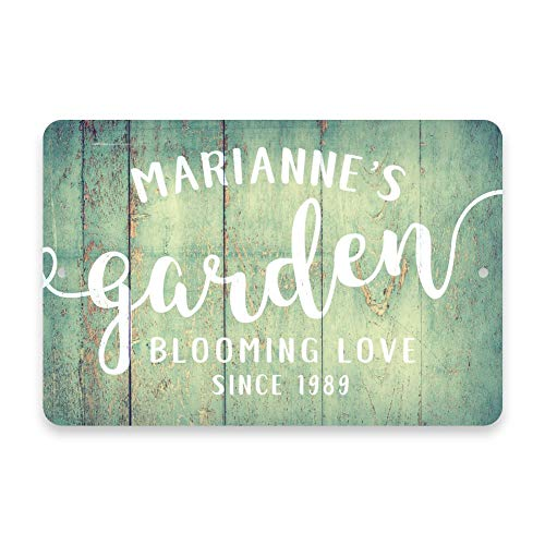 LPLED Personalized Mint Rustic Garden Blooming Love Metal Room Sign Customized Wall Art Plaque Sign Gift (Garden-5)