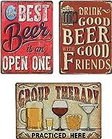 UNIQUELOVER バービールサイン Best Beer, Good Beer & Groupヴィンテージメタルブリキ看板 面白いキッチンサイン ホームウォールアート 飾り額装飾 12 x 8インチ / 30 x 20cm -3個