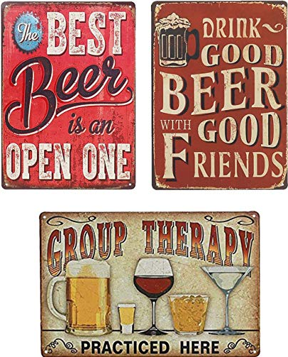 UNIQUELOVER Bar Beer Signs, Best Beer, Good Beer & Group Vintage Metal Tin Sign Funny Kitchen Signs for Home Wall Art Plaque Decor 12 x 8 Inches /30 x 20cm -3Pcs