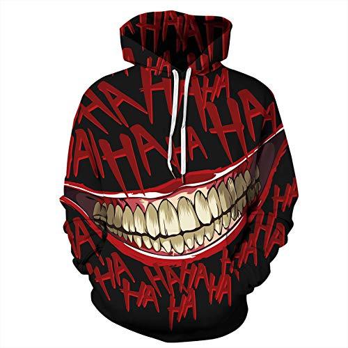 Zaima Felpa con Cappuccio 3D Halloween Crazy Smile Pullover Felpa A Maniche Lunghe Cappotti Cool Unisex Streetwear Felpe con Cappuccio da Uomo Stampa da Clown Maglione da Donna da Uomo