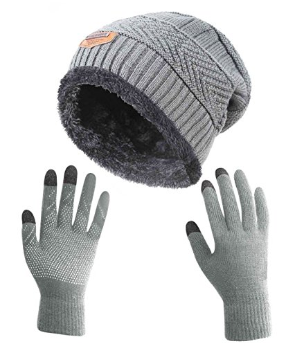 HINDAWI Winter Gloves Slouchy Beanie for Women Knit Warm Hat Skull Cap Touch Screen Mittens Grey