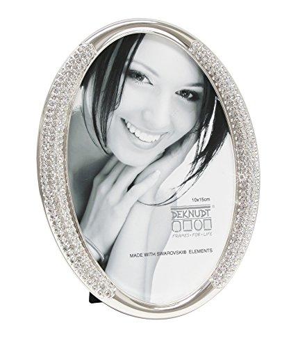 Deknudt Frames S66LA2 Fun & Deco 10x15 Bilderrahmen Silber oval mit Swarovski Elements Metall Fun & Deco