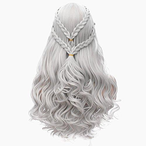 Daenerys Targaryen Cosplay Wig for Game of Thrones Long Curly Hair Wig Khaleesi Halloween Costumes (Silver Grey) BU121S