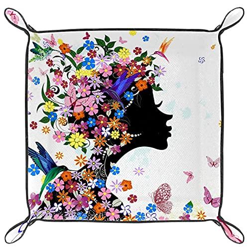 Joyerías de cuero para mujer, bandeja de valet con hebilla a presión, diseño de dados, monedero, monedero, bandeja de almacenamiento para mesita de noche, coloridas flores y mariposas